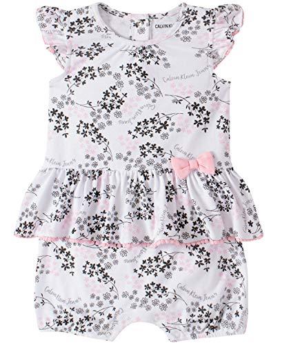 Calvin Klein Baby Girls' Romper, Pink Print, 24M