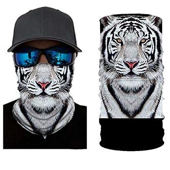 GLUDEAR Cool Animal Print Seamless Bandana Rave Face Mask Dust Wind Sun Protection Scarf Neck Balaclava,Cool White Tiger