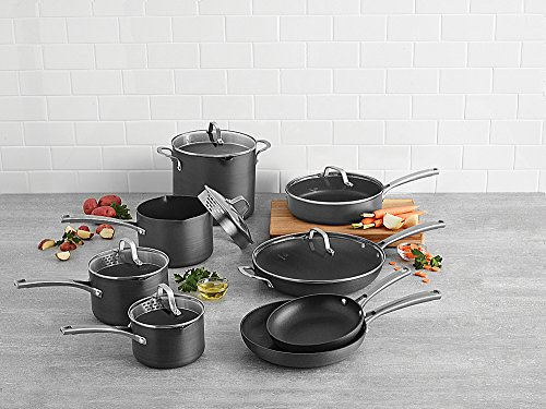 Calphalon Classic Nonstick Hard-Anodized 14-Piece Cookware Set, Grey