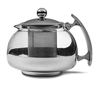 Chef's Star Premium Glass Tea Pot & Infuser - Stainless Steel, 25 oz