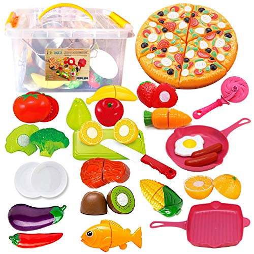 FUNERICA Play Kitchen Cutting Toy Food Set with Pretend Play Fruits, Vegetables, Poultry and Fish, Play Kitchen Accessoriies, Cutting Pizza, for Kids, Boys, Girls, Toddlers