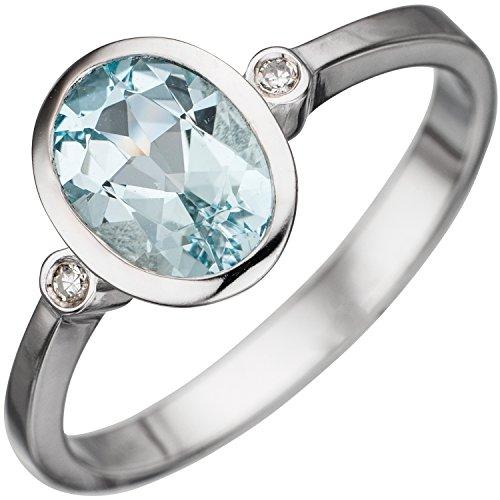 JOBO Damen-Ring aus 585 Weißgold mit Aquamarin und 2 Diamanten Größe 60