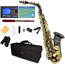 Mendini by Cecilio E-Flat Alto Saxophone, Black Nickel Plated with Gold Keys + Tuner, Case, Pocketbook - MAS-BNG+92D+PB
