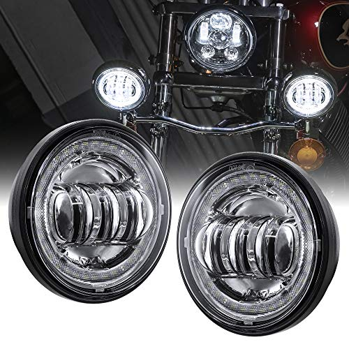 2pc 4.5' Osram LED Harley Fog Passing Light [Halo] [Chrome-Finish] [6,500K] [2,880 Lumens] Motorcycle Passing Fog Lamp Light for Harley Davidson Accessories Road King Glide Street Glide Electra Glide