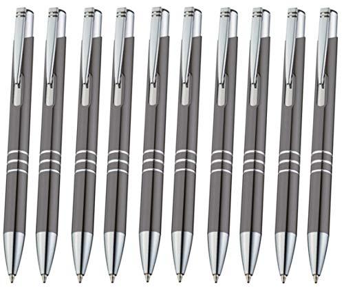 Libetui 10er Pack Kugelschreiber aus Metall Metallkugelschreiber Druckkugelschreiber, auswechselbare Großraum-Mine Blauschreibend, Gehäuse Kuli Grau