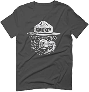 White Hipster Vintage Smokey The Bear Graphic for Men T Shirt