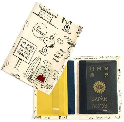 バンガード パスポートカバー 2冊入る ダブルポケット 防汚 ラミネート仕様 アイボリー (かわいい キャラクター スヌーピー ドッグハウス シリーズ)