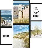 Papierschmiede® Mood-Poster Set Moin | 6 fertig gerahmte