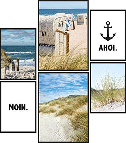 Papierschmiede® Mood-Poster Set Moin   6 Bilder als stilvolle Wanddeko   2X DIN A4 und 4X DIN A5   Norden Strand Küste Dünen - ohne Rahmen