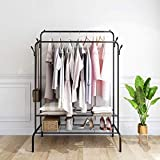 Metal Garment Rack with 2 Tier Shelves and Double Rod, Clothes Hanging Rack for Hanging Clothes with Hook, Heavy Duty Freestanding Closet Open Wardrobe Clothing Rack
