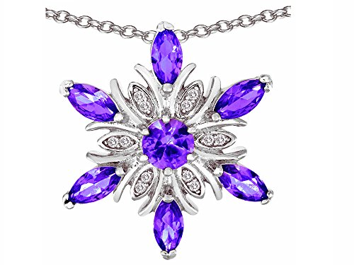 Star K Simulated Amethyst Snowflake Pendant Necklace Sterling Silver