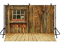 LYLYCTY 素朴なバーンドア背景 壁 木製床 写真背景