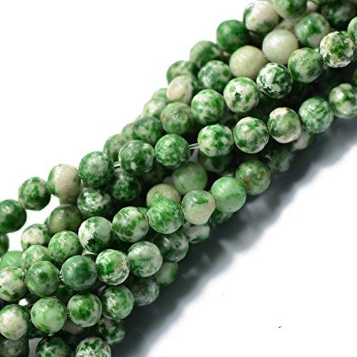 joyMerit Cuentas de Piedras Preciosas Al por Mayor de 6 Mm, Cuentas de Jade Verde Natural, Hebra 15