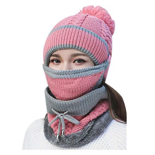 Masrin Art- und Weisefrauen-Winter-warme dreiteilige Hut-gestrickte Wollschal-Hut-Pom Kappen-Schal-Maske (Rosa)