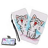 LEMAXELERS Carcasa Nokia 2.2,Funda Nokia 2.2 Carcasa Flor de mariposa Pintura Dibujo de Tipo Libro con Ranuras Tarjetas de Soporte Solapa con Cierre magnético Case,XC Smile Cat