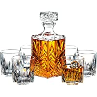7-Piece Paksh Novelty Italian Crafted Glass Decanter & Whisky Glasses Set