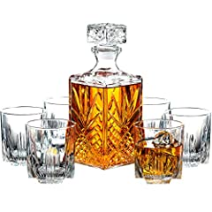 Complete your barware collection with this value packed fine whiskey decanter set. The set includes a timeless, squared 33.75 oz decanter with a beveled fluted stopper and 6 sophisticated 9.5oz whiskey tumbler glasses all providing classic elegance. ...