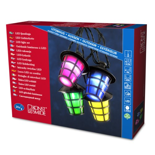 Konstsmide 4162-500 LED Lampionkette 20 bunte Laternen / 20 kalt weiße Dioden / 24V Außentrafo / schwarzes Kabel
