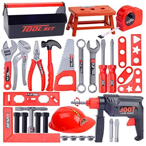 Juego de herramientas para niños de 31/44 piezas, juguetes educativos para niños pequeños con caja de herramientas, kit de herramientas de mano pequeña y real accesorios de aprendizaje de construcción