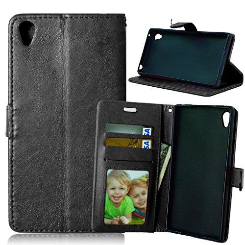 Qiaogle Telefon Case - PU Leder Wallet Schutzhülle Case für Sony Xperia Z4 / Xperia Z3 Plus / E6533 - DK02 / Schwarz Klassische Solid Color Geschäfts Art