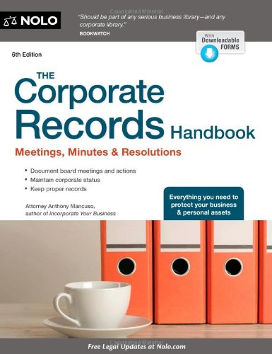 The Corporate Records Handbook + Website: Meetings, Minutes & Resolutions