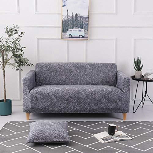Dthlay - Funda de sofá elástica de 2 piezas para una funda de sofá con cuadrados en esquina en forma de L Salón 1/2/3/4 Plazas - E_Four_seat235-300