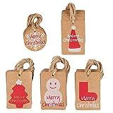 Amaza 100pcs Etiquetas de Papel Kraft Árbol de Navidad Gift Tags con Cerda de Yute Navidad Decoracion Arbol (5 Patrones)