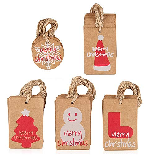Etiquetas Navidad Kraft Marca Amaza
