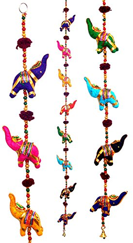 Tribe Azure Fair Trade 5 Elephant Bell Hanging, Door Wall Living Room Bedroom Decor Art Decorative Colorful Animal Boho Hippie Gypsy Chime Ethnic