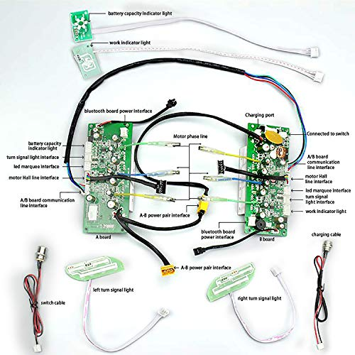 Orzms Placa Base de Sistema Dual para Hoverboard - Kit de reparación de Placa Base de Scooter de autoequilibrio de Repuesto Universal para Scooter Inteligente de 6.5/8/10/11 Pulgadas