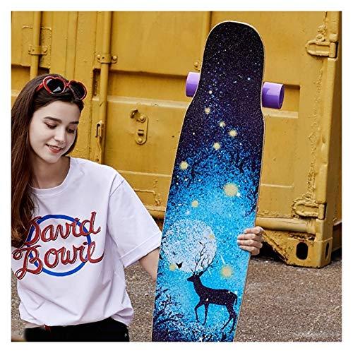 KHUY Longboard 46 Pulgadas Skateboard Adulto Completa Long Board Skateboards Downhill Dancing Surfskate, Pro Monopatin Longboard Maple Deck Cruiser para Adulto Niños Principiantes (Color : E)