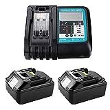 2 piezas BL1830 batería de repuesto de iones de litio 18V 3.0Ah + cargador 3A 14.4V-18V DC18RC con pantalla LED para Makita BL1860B BL1860 BL1840 BL1830 LXT-400 DC18RC
