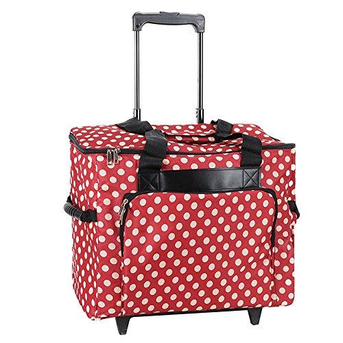 Nähmaschinen-Trolley, rot-creme im Polka Dots Design -- Gepolstert -- Teleskopstange -- Strapazierfähiger Nähmaschinen-Koffer gepunktet mit Rollen