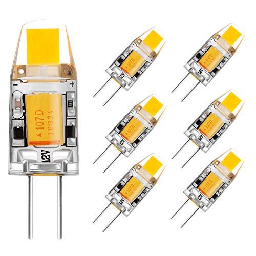 G4 Ampoule LED AC/DC 12V 2W 140LM Blanc chaud no dimmable (6pcs, 3000K)
