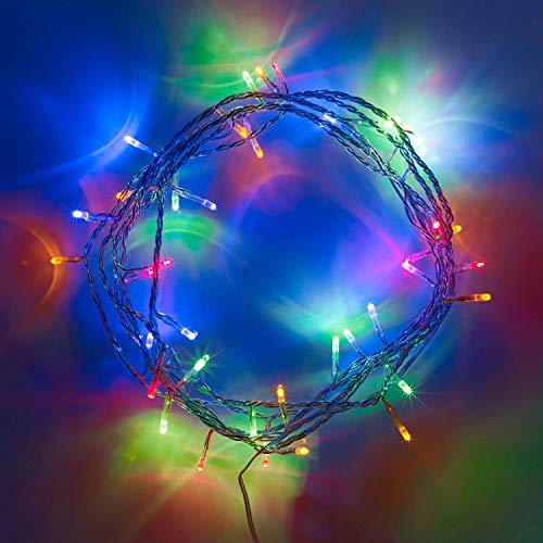 Lights4fun 50 Multi Coloured LED Indoor Fairy Lights Clear Cable Plug in 24v 4m IP20