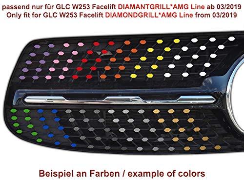 NUR für AMG-Line Chrom Diamantgrill Folien Sticker für Mercedes GLC W253 Facelift Grillaufkleber (Anthrazit metallic)