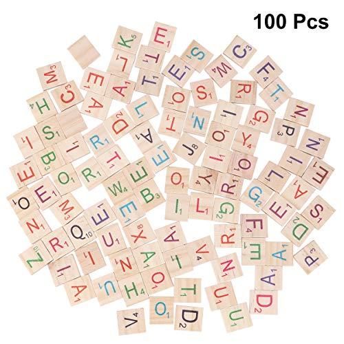 Healifty 100 stücke Holz Alphabet Fliesen Englisch Buchstaben Craft Brettspiele Lernspielzeug