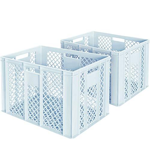 2x Eurobehälter/Bäckerkiste, LxBxH 600 x 400 x 410 mm, lebensmittelecht, Boden und Wände durchbrochen, weiß