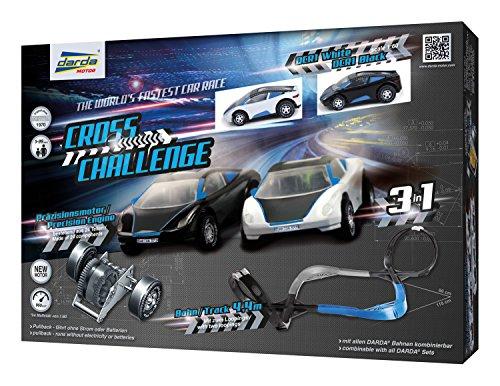 Darda 50245 - Darda Rennbahn Cross Challenge, Fahrbahnlänge ca. 4,40 m, mit 2 Loopings und 2 Darda Autos DCR1 Rennwagen, Rennauto Spielset für Kinder ab 5 Jahre, 3 Aufbauvarianten