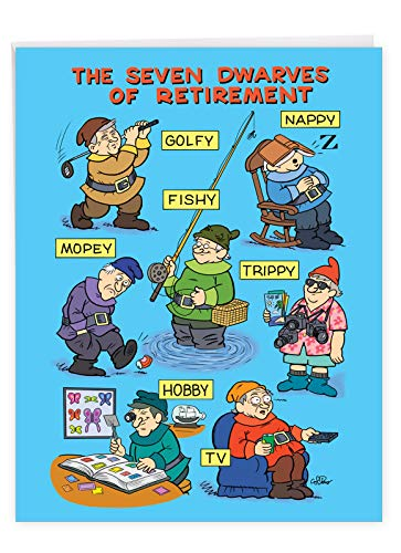 NobleWorks - Seven Dwarves of Retirement - Farewell Retirement Card from Family, Coworkers - Big Card with Envelope (8.5 x 11 Inch) J7246RTG-US