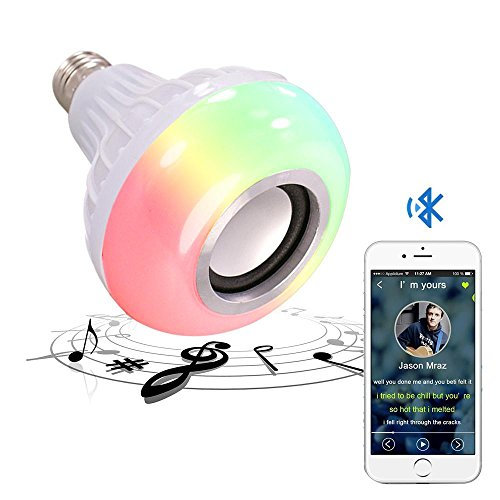 Kobwa - Bombilla de música con Bluetooth, casquillo E27 RGB, multicolor, cambio de LED, altavoz inteligente con mando a distancia de 24 teclas