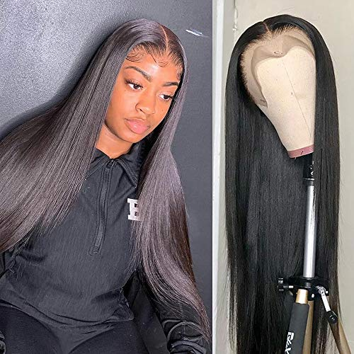 Lace Front Wigs Human Hair 30 inch Straight Lace Frontal Wigs For Black Woman 13x4 Lace Front Wigs Pre Plucked Hairline with Baby Hair 150% Density 10A Dyale Natural Black Hair Wig(30 inch)
