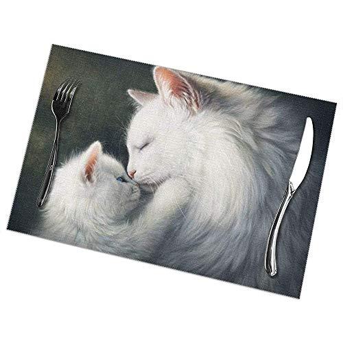 Hao-shop hittebestendige placemats set van 6 eettafel placemats cat placemat antislip wasbaar