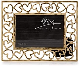 Michael Aram Gold Golden Heart Photo Picture Frame Holds 4x6 Photo