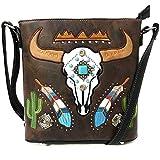 Justin West Native Longhorn Cow Skull Cactus Feather Color Conceal Carry Shoulder Handbag Purse | Trifold Wallet (Brown Messenger Only)