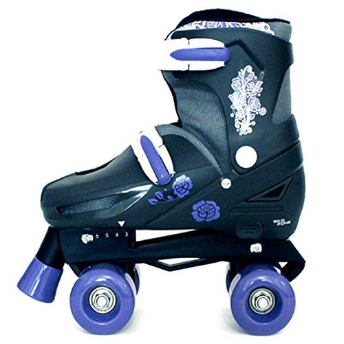 Sk8 Zone By Eurotrade Girls' HW218806 Purple Black, Sk8 Zone Quad Kids Roller Boots Safety Pads Helmet Childrens Skate Set (Medium 13-3 (31.5-34.5 EU))