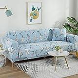 Home Funda de Sofa,Funda elástica para sofá Patrón elástico Fundas para sofá Totalmente Cerradas Funda para sillón Protector Universal para Muebles con 1 Funda de Almohada-1 Plaza_Flores Azul