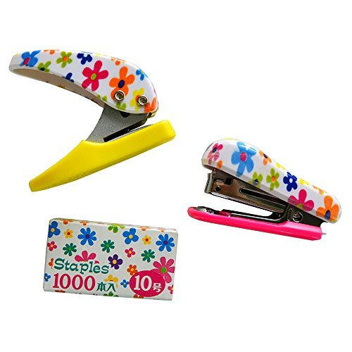 Pink Flower Mini Stapler with 1000 Refill Staples and One Hole Paper Punch, Floral Print Desk Set Gift for Girls and Women