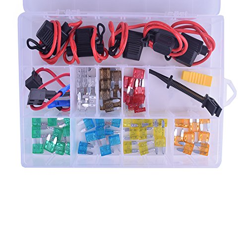 HUAHA Auto Mini Blade Fuse Assorted + Inline 16 AWG Gauge Waterproof DC Fuse Holder + Add-a-circuit Fuse TAP Adapter with 2 Fuse Pullers