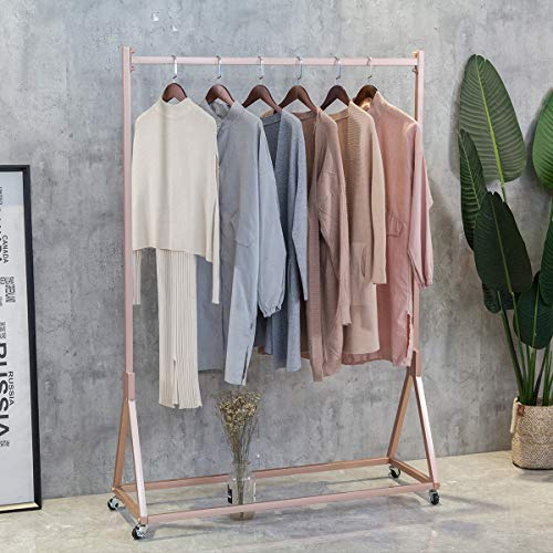 FURVOKIA Modern Simple Heavy Duty Metal Rolling Garment Rack with WheelRetail Display Clothing RackWrought Iron Single Rod Floor-Standing Hangers Clothes Shelves Rose Gold Square Tube 472 L